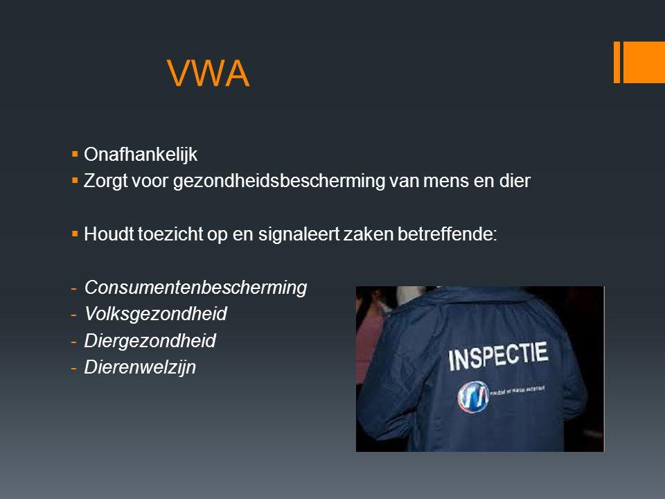 VWA  Onafhankelijk  Zorgt voor gezondheidsbescherming van mens en dier  Houdt toezicht op en signaleert zaken betreffende: -Consumentenbescherming