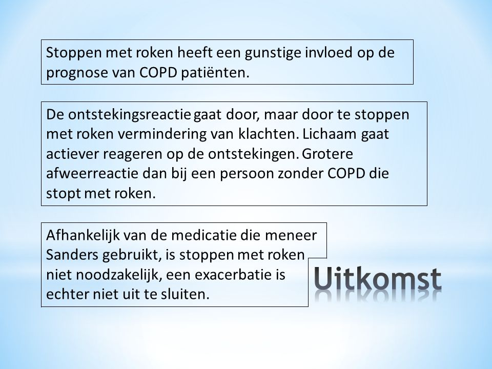 De ontstekingsreactie gaat door, maar door te stoppen met roken vermindering van klachten.
