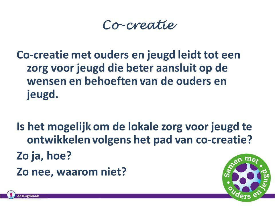 Co-creatie Co-creatie met ouders en jeugd leidt tot een zorg voor jeugd die beter aansluit op de wensen en behoeften van de ouders en jeugd. Is het mo