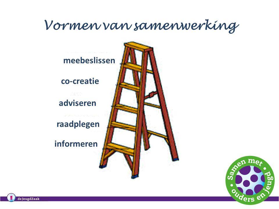 Vormen van samenwerking meebeslissen co-creatie adviseren raadplegen informeren