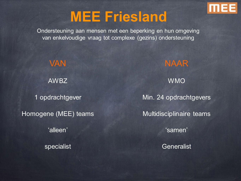Ondersteuning aan mensen met een beperking en hun omgeving van enkelvoudige vraag tot complexe (gezins) ondersteuning MEE Friesland VAN AWBZ 1 opdrach