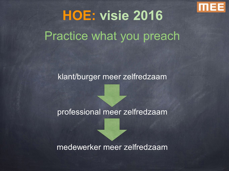 Practice what you preach klant/burger meer zelfredzaam professional meer zelfredzaam medewerker meer zelfredzaam HOE: visie 2016