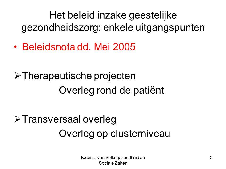 Kabinet van Volksgezondheid en Sociale Zaken 4 Reorganisatie van de GGZ en door de GGZ Bottom-up benadering 1997: advies van de NRZV Progressieve transformatie via experimenten en artikel 97ter Complex denkproces op basis van onderzoek, monitoring van de therapeutische projecten.