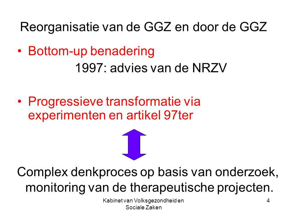 Kabinet van Volksgezondheid en Sociale Zaken 4 Reorganisatie van de GGZ en door de GGZ Bottom-up benadering 1997: advies van de NRZV Progressieve tran