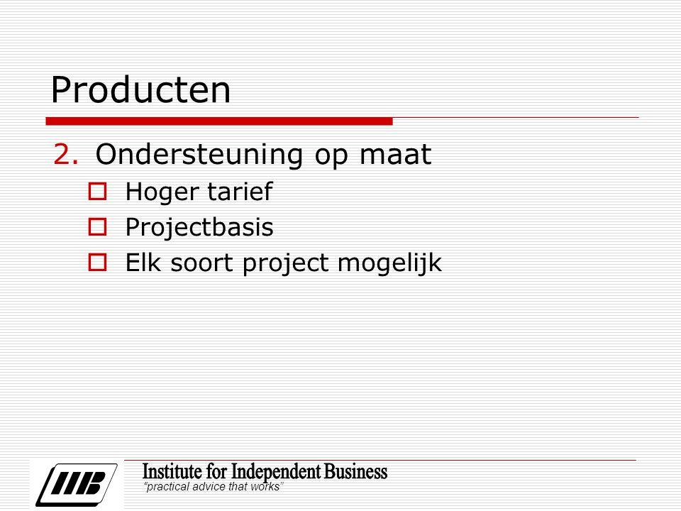practical advice that works Producten 2.Ondersteuning op maat  Hoger tarief  Projectbasis  Elk soort project mogelijk