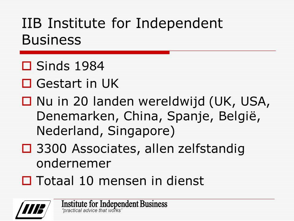practical advice that works IIB Institute for Independent Business  Sinds 1984  Gestart in UK  Nu in 20 landen wereldwijd (UK, USA, Denemarken, China, Spanje, België, Nederland, Singapore)  3300 Associates, allen zelfstandig ondernemer  Totaal 10 mensen in dienst