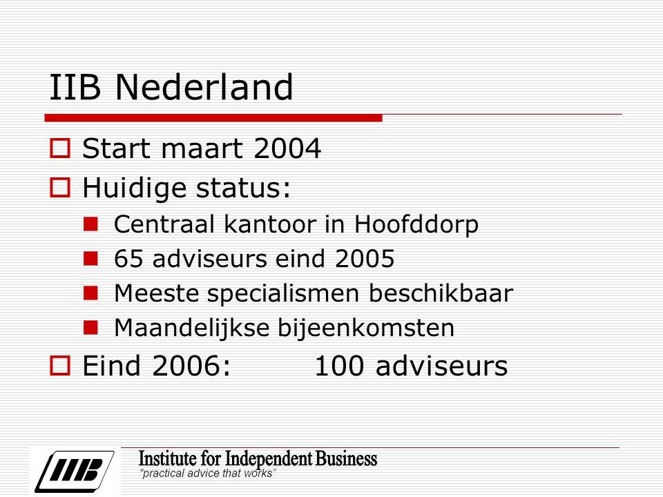 practical advice that works IIB Nederland  Start maart 2004  Huidige status: Centraal kantoor in Hoofddorp 65 adviseurs eind 2005 Meeste specialismen beschikbaar Maandelijkse bijeenkomsten  Eind 2006:100 adviseurs