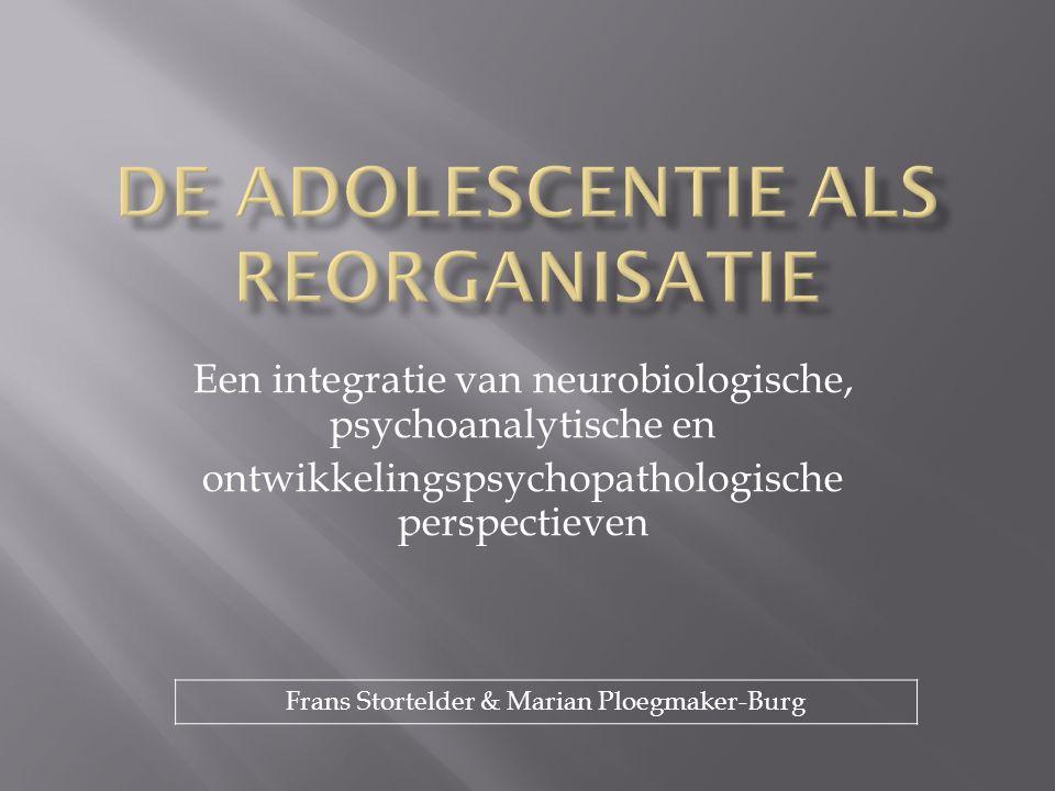  Inleiding  De adolescentie vanuit biopsychosociaal perspectief  Neurobiologische ontwikkelingsmodellen van de adolescentie  Ontwikkeling van genexpressie  Ontwikkelingen van de hersenen  Neurochemische ontwikkeling  Psychosociale ontwikkelingsmodellen van de adolescentie  Emotionele ontwikkeling  Cognitieve ontwikkeling