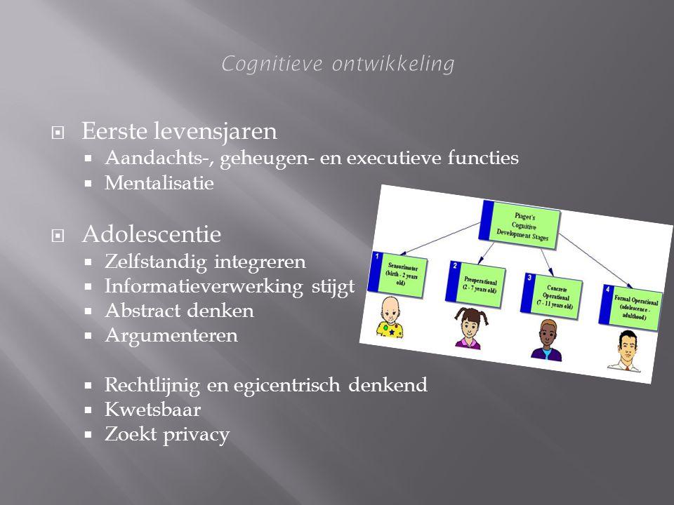  Eerste levensjaren  Aandachts-, geheugen- en executieve functies  Mentalisatie  Adolescentie  Zelfstandig integreren  Informatieverwerking stij