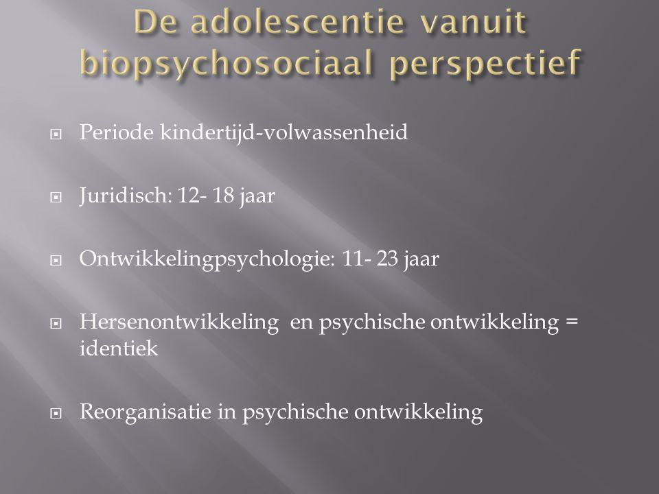  Periode kindertijd-volwassenheid  Juridisch: 12- 18 jaar  Ontwikkelingpsychologie: 11- 23 jaar  Hersenontwikkeling en psychische ontwikkeling = i