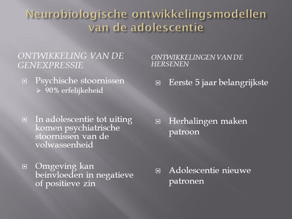  Neurohormonen + neurotransmitters Psychaitrisce stoornissen  Vroege adolescentie  geslachtshormonen  ervaring + gevoeligheid stress groter  18 jaar  Grotere stijging  Beinvloeding hersenrijping  Gehechtigheid belangrijk