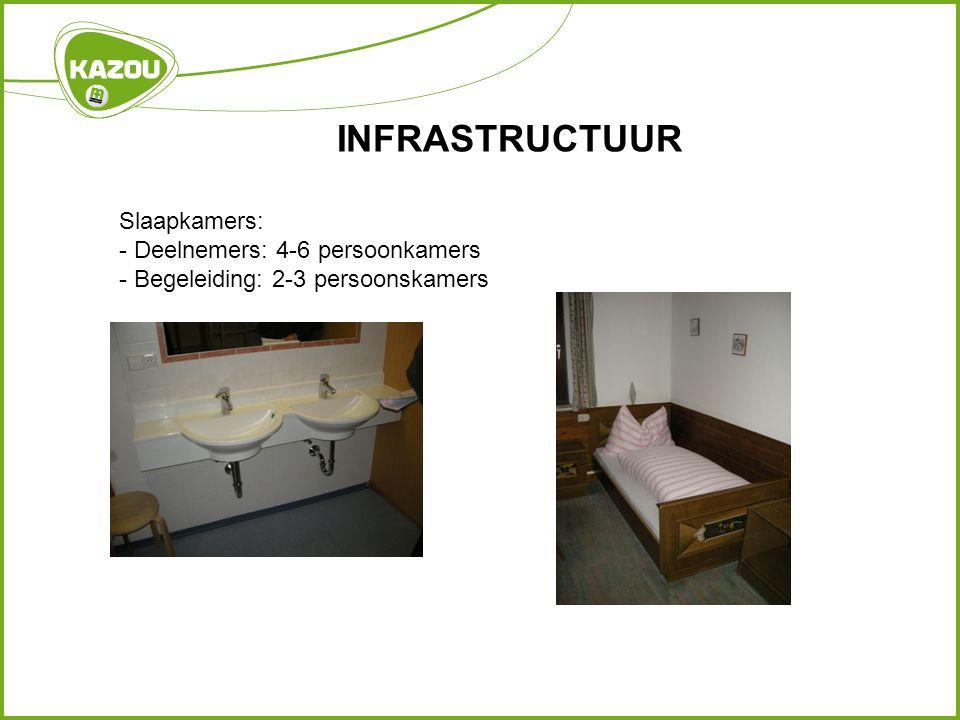 INFRASTRUCTUUR Slaapkamers: - Deelnemers: 4-6 persoonkamers - Begeleiding: 2-3 persoonskamers