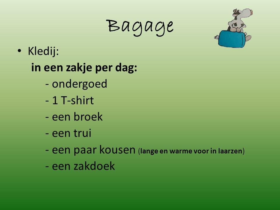 Bagage Kledij: in een zakje per dag: - ondergoed - 1 T-shirt - een broek - een trui - een paar kousen (lange en warme voor in laarzen) - een zakdoek