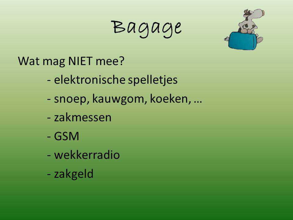 Bagage Wat mag NIET mee.