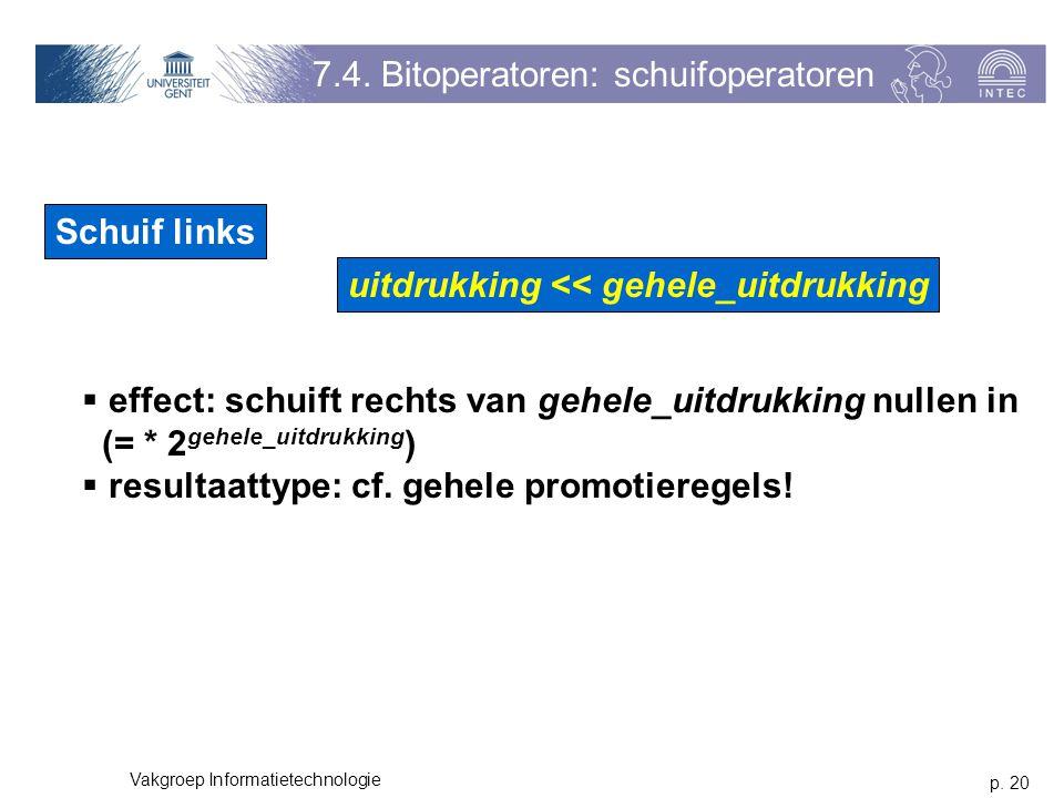 p. 20 Vakgroep Informatietechnologie 7.4.