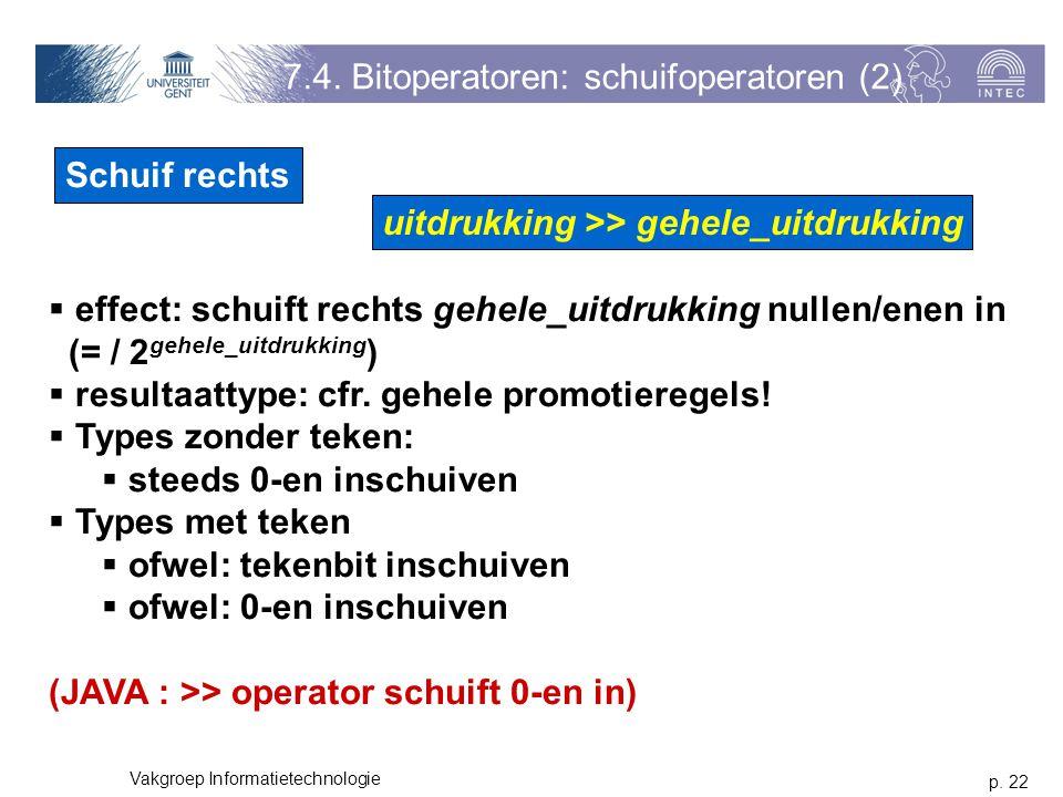 p. 22 Vakgroep Informatietechnologie 7.4.
