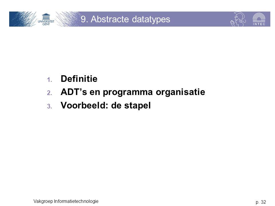 p. 32 Vakgroep Informatietechnologie 9. Abstracte datatypes 1.