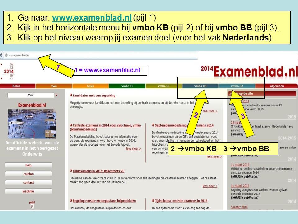 1 3 2 1 = www.examenblad.nl 2  vmbo KB 3  vmbo BB 1.Ga naar: www.examenblad.nl (pijl 1)www.examenblad.nl 2.Kijk in het horizontale menu bij vmbo KB