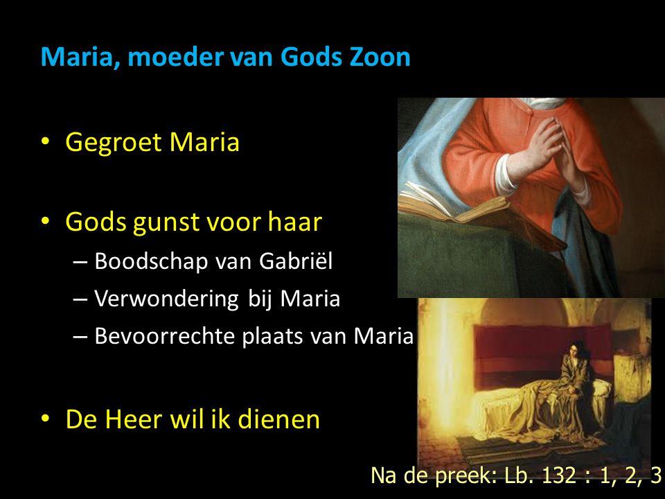 Maria, moeder van Gods Zoon Gegroet Maria Gods gunst voor haar – Boodschap van Gabriël – Verwondering bij Maria – Bevoorrechte plaats van Maria De Heer wil ik dienen Na de preek: Lb.