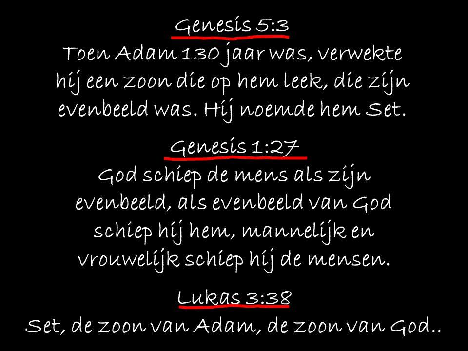Genesis 5:3 Toen Adam 130 jaar was, verwekte hij een zoon die op hem leek, die zijn evenbeeld was.