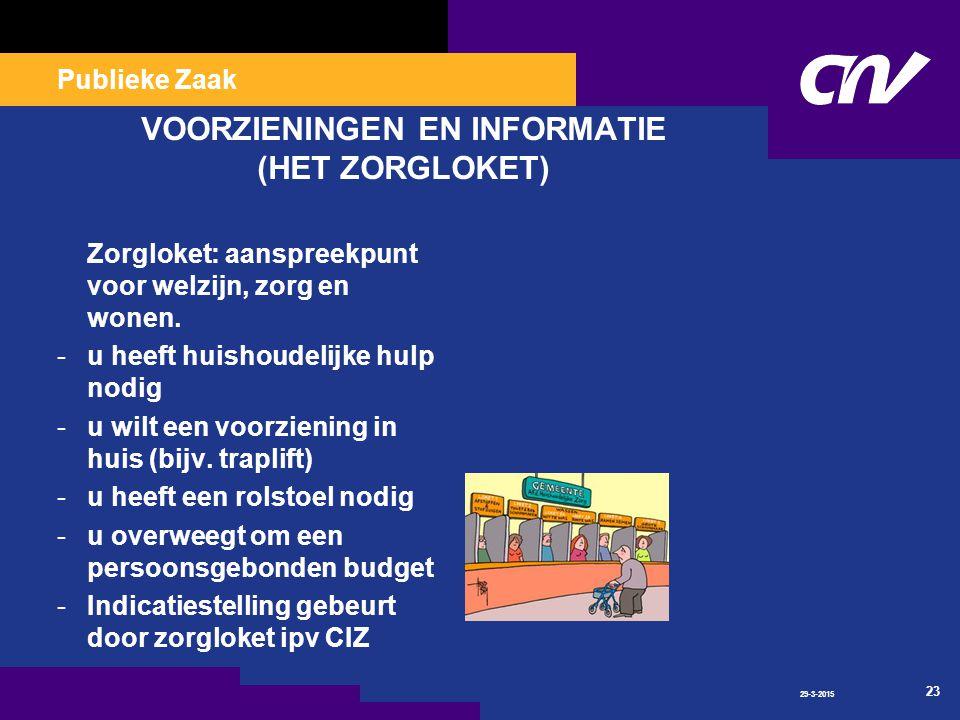 Publieke Zaak 29-3-2015 23 VOORZIENINGEN EN INFORMATIE (HET ZORGLOKET) Zorgloket: aanspreekpunt voor welzijn, zorg en wonen.