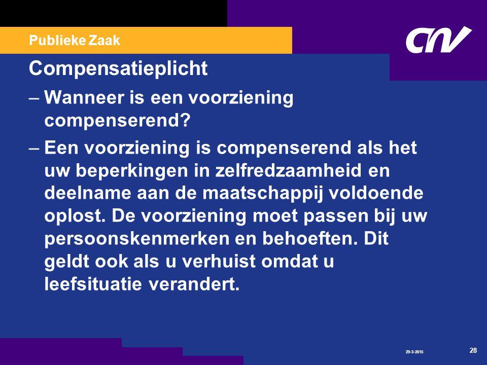 Publieke Zaak Compensatieplicht –Wanneer is een voorziening compenserend.