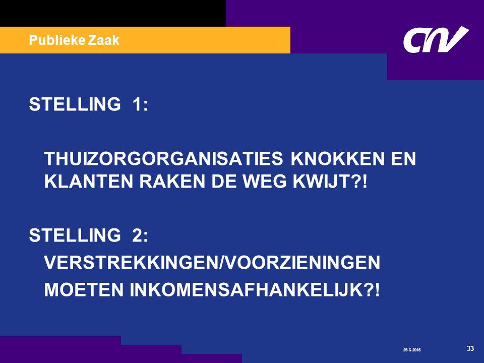 Publieke Zaak 29-3-2015 33 STELLING 1: THUIZORGORGANISATIES KNOKKEN EN KLANTEN RAKEN DE WEG KWIJT .