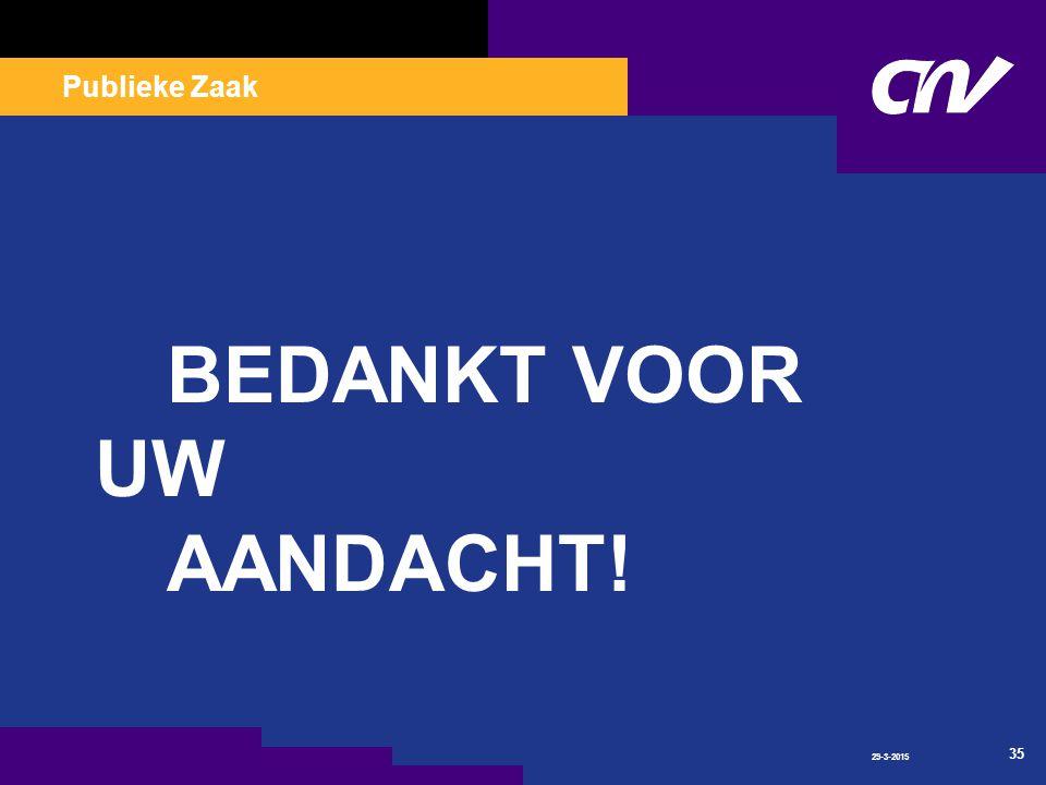 Publieke Zaak 29-3-2015 35 BEDANKT VOOR UW AANDACHT!
