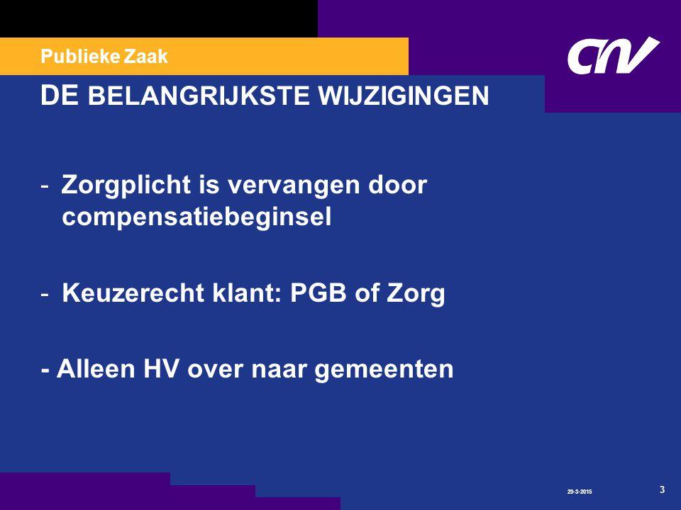 Publieke Zaak 29-3-2015 3 DE BELANGRIJKSTE WIJZIGINGEN -Zorgplicht is vervangen door compensatiebeginsel -Keuzerecht klant: PGB of Zorg - Alleen HV over naar gemeenten