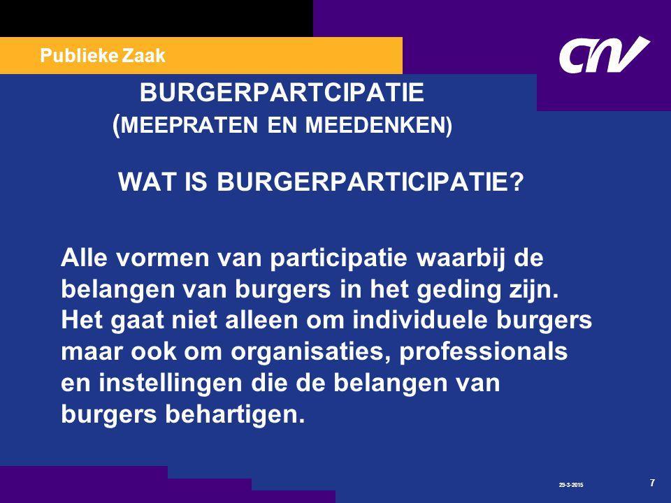 Publieke Zaak 29-3-2015 7 BURGERPARTCIPATIE ( MEEPRATEN EN MEEDENKEN) WAT IS BURGERPARTICIPATIE.