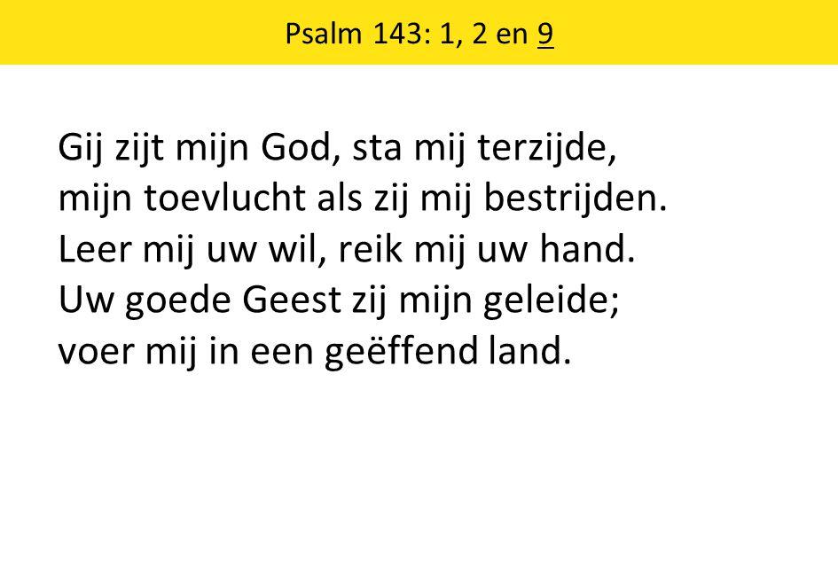 Psalm 143: 1, 2 en 9 Gij zijt mijn God, sta mij terzijde, mijn toevlucht als zij mij bestrijden.