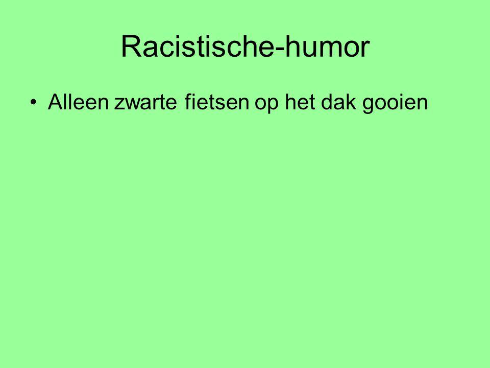 Racistische-humor Alleen zwarte fietsen op het dak gooien