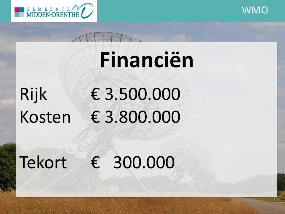 WMO Financiën Rijk € 3.500.000 Kosten € 3.800.000 Tekort € 300.000