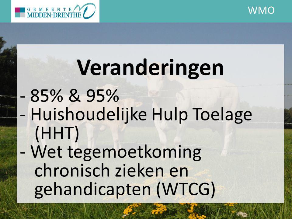 WMO Veranderingen - 85% & 95% - Huishoudelijke Hulp Toelage (HHT) - Wet tegemoetkoming chronisch zieken en gehandicapten (WTCG)