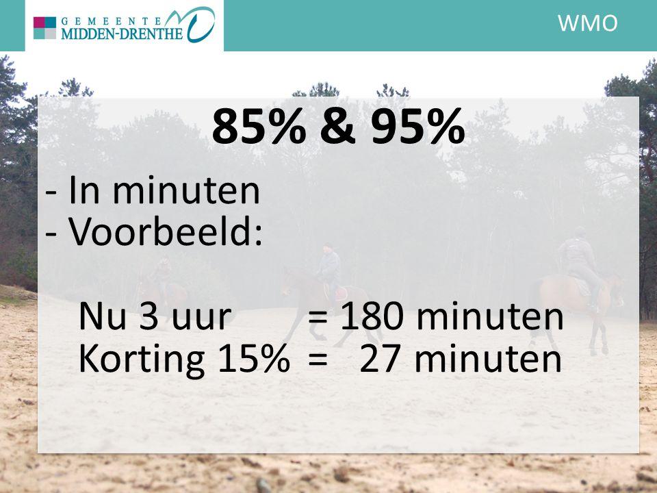 WMO 85% & 95% - In minuten - Voorbeeld: Nu 3 uur = 180 minuten Korting 15% = 27 minuten