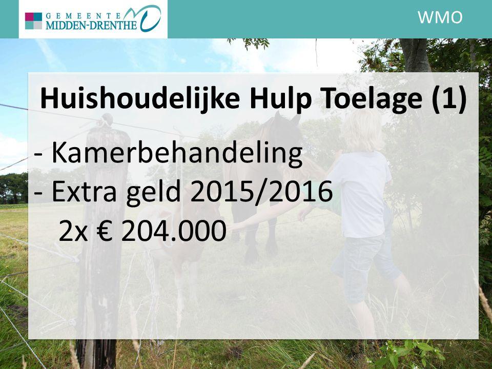 WMO Huishoudelijke Hulp Toelage (1) - Kamerbehandeling - Extra geld 2015/2016 2x € 204.000