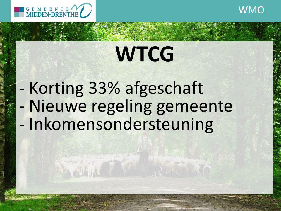 WMO WTCG - Korting 33% afgeschaft - Nieuwe regeling gemeente - Inkomensondersteuning