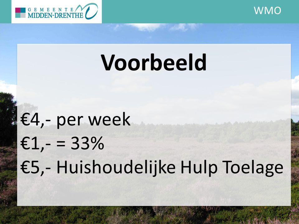 WMO Voorbeeld €4,- per week €1,- = 33% €5,- Huishoudelijke Hulp Toelage
