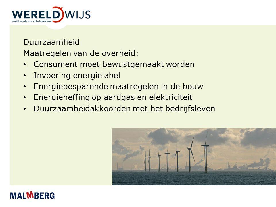 Duurzaamheid Maatregelen van de overheid: Consument moet bewustgemaakt worden Invoering energielabel Energiebesparende maatregelen in de bouw Energieh