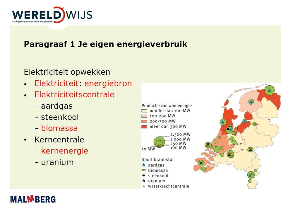 Paragraaf 1 Je eigen energieverbruik Elektriciteit opwekken Elektriciteit: energiebron Elektriciteitscentrale - aardgas - steenkool - biomassa Kerncen