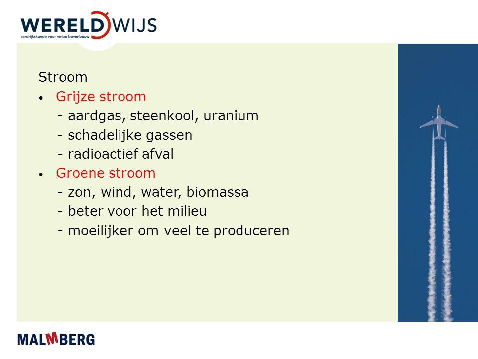 Stroom Grijze stroom - aardgas, steenkool, uranium - schadelijke gassen - radioactief afval Groene stroom - zon, wind, water, biomassa - beter voor he