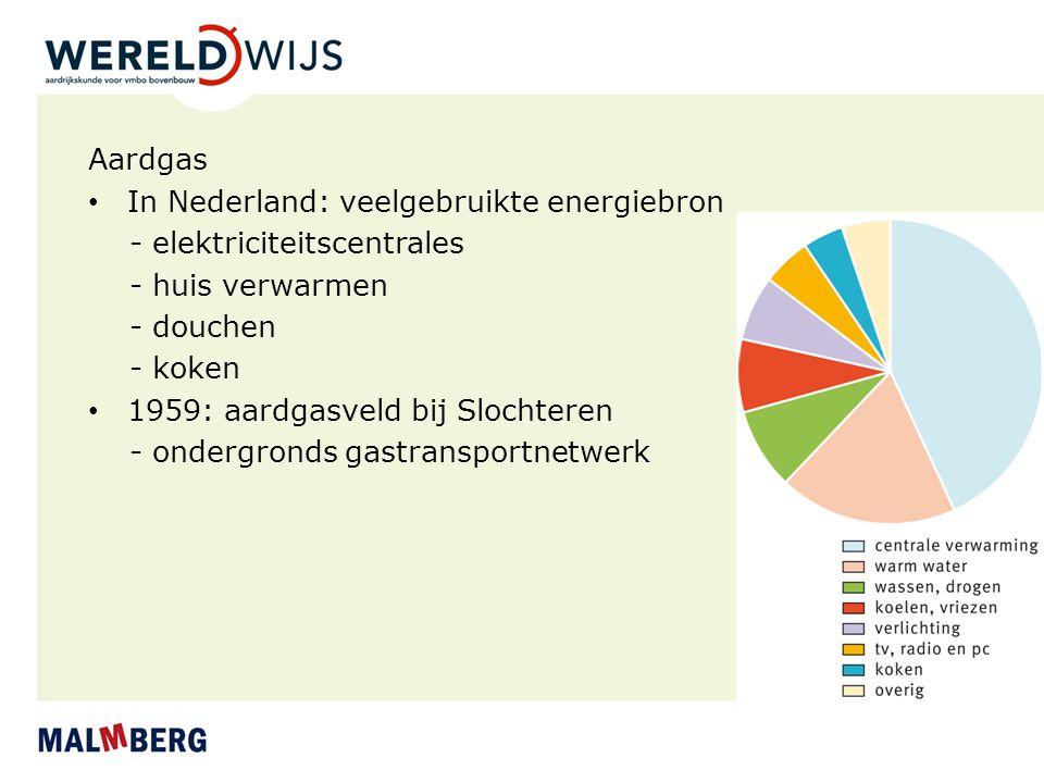 Aardgas In Nederland: veelgebruikte energiebron - elektriciteitscentrales - huis verwarmen - douchen - koken 1959: aardgasveld bij Slochteren - onderg