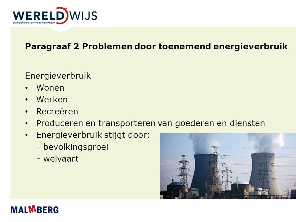 Paragraaf 2 Problemen door toenemend energieverbruik Energieverbruik Wonen Werken Recreëren Produceren en transporteren van goederen en diensten Energ