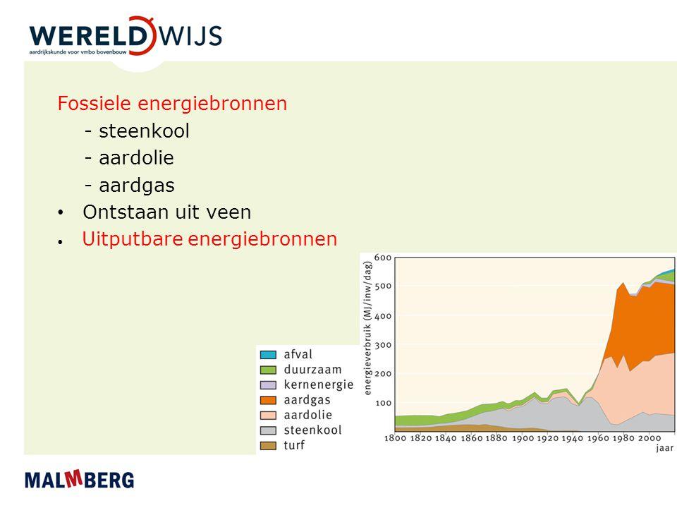Fossiele energiebronnen - steenkool - aardolie - aardgas Ontstaan uit veen Uitputbare energiebronnen