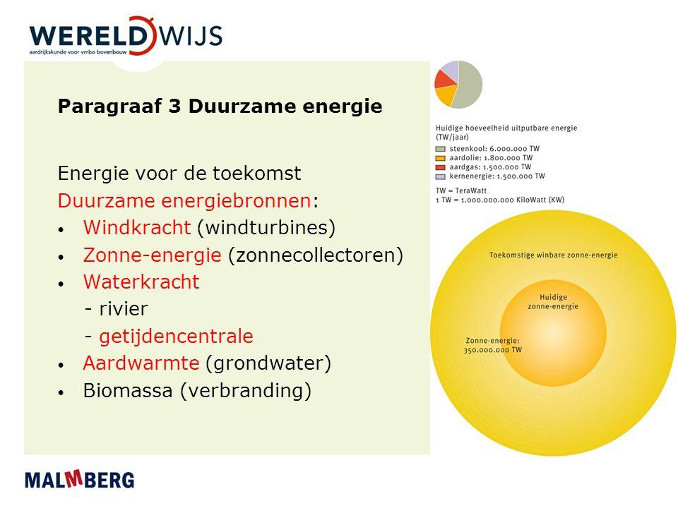 Paragraaf 3 Duurzame energie Energie voor de toekomst Duurzame energiebronnen: Windkracht (windturbines) Zonne-energie (zonnecollectoren) Waterkracht