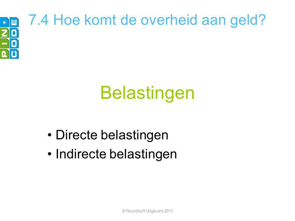 Belastingen Directe belastingen Indirecte belastingen © Noordhoff Uitgevers 2011 7.4 Hoe komt de overheid aan geld?