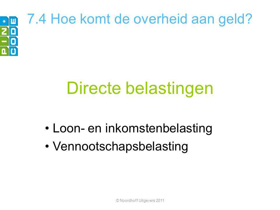 Directe belastingen Loon- en inkomstenbelasting Vennootschapsbelasting © Noordhoff Uitgevers 2011 7.4 Hoe komt de overheid aan geld?