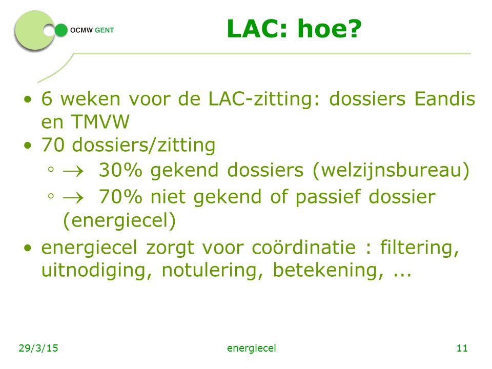 energiecel1129/3/15 LAC: hoe? 6 weken voor de LAC-zitting: dossiers Eandis en TMVW 70 dossiers/zitting ◦  30% gekend dossiers (welzijnsbureau) ◦  70