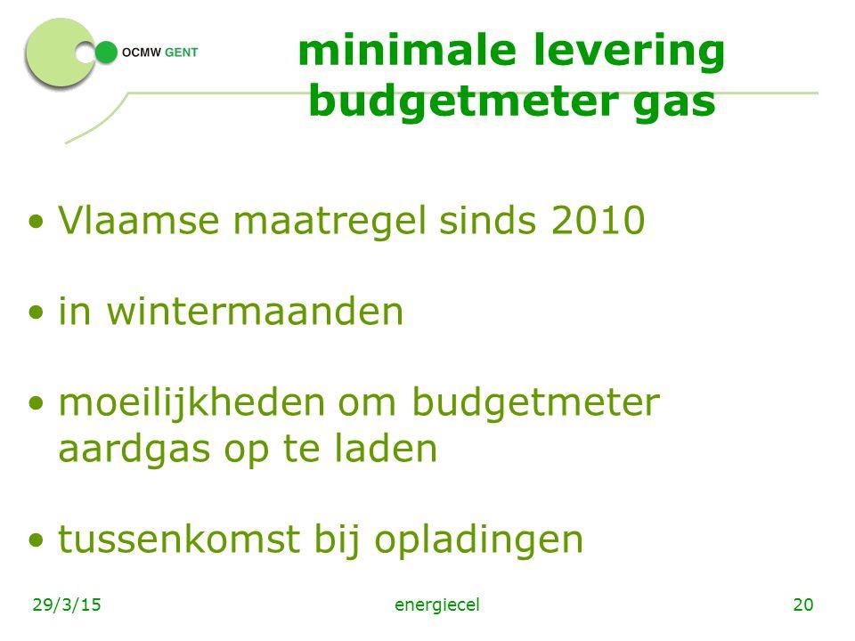 energiecel2029/3/15 minimale levering budgetmeter gas Vlaamse maatregel sinds 2010 in wintermaanden moeilijkheden om budgetmeter aardgas op te laden t