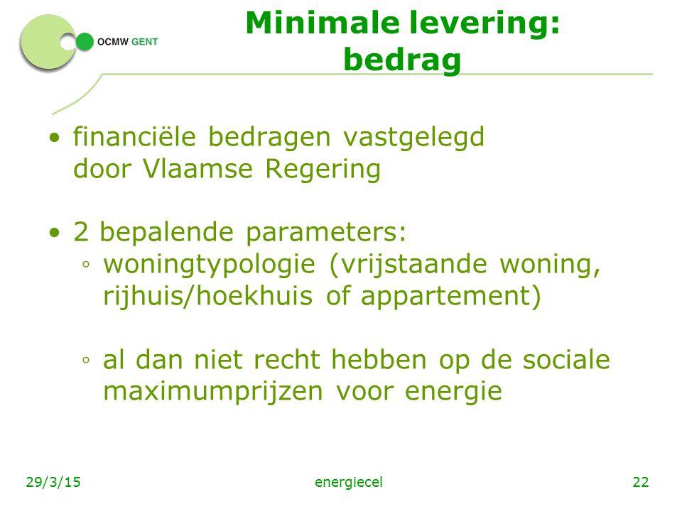 energiecel2229/3/15 Minimale levering: bedrag financiële bedragen vastgelegd door Vlaamse Regering 2 bepalende parameters: ◦ woningtypologie (vrijstaa